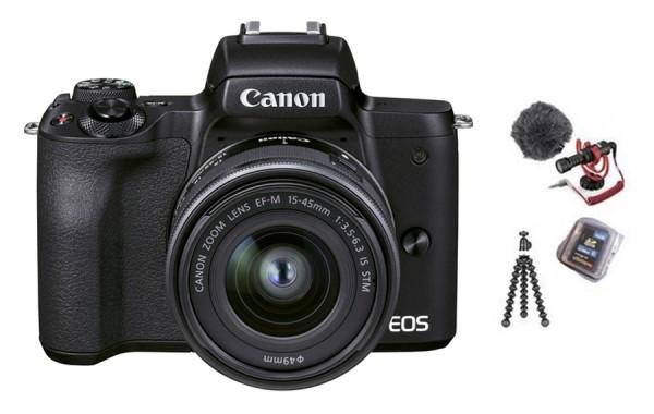Canon EOS M50 II schwarz Vlogger Kit mit 15-45 IS STM+32GB SD+Mikrofon+Ministativ