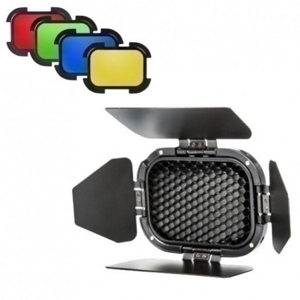 Godox BD-01 Lichtklappen mit Farbfilter & Wabe 98mm