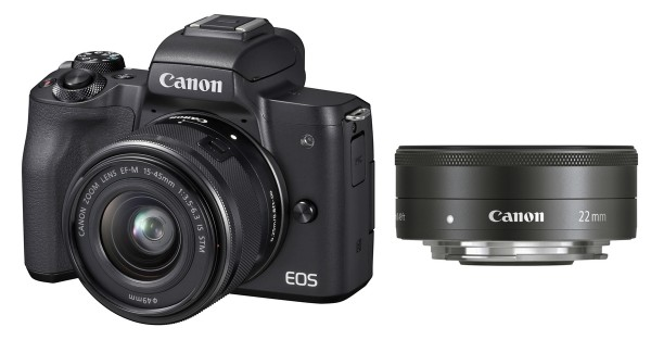 Canon EOS M50 & EF-M 15-45mm & EF-M 22mm IS STM SET, schwarz