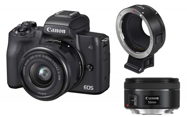 Canon EOS M50 & EF-M 15-45mm & EF Adapter & EF 1,8/50mm SET,schwarz