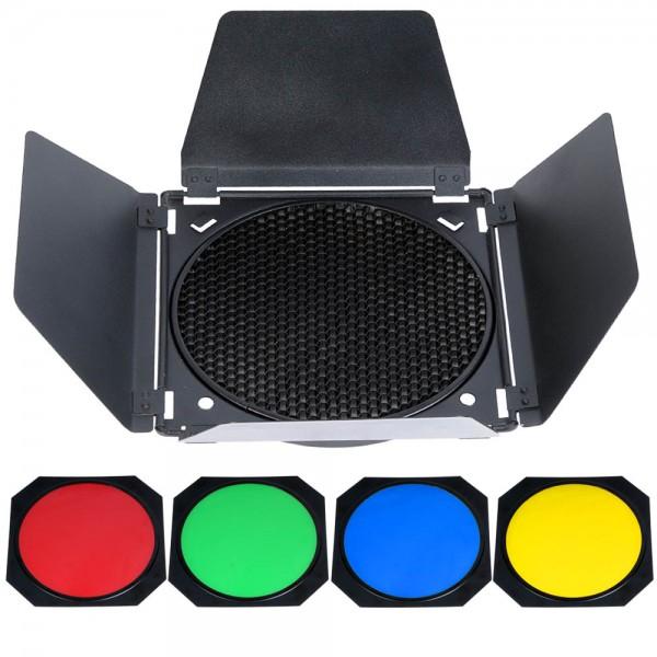 Godox BD-04 Lichtklappen mit Farbfilter & Wabe 200mm