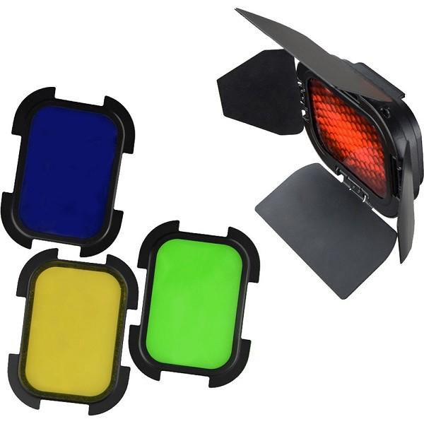 Godox BD-07 Lichtklappen mit Farbfilter & Wabe für AD200